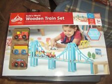Carousel Wooden Set reversible train or road track 100 Pieces  new