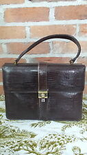 Vintage Palizzio Brown Lizard Purse Side Clasp with Mirror, Comb