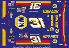 #31 Ron Hornaday Napa 1999 1/64th Ho Scale Slot Car Waterslide Decals