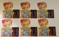 Vintage Valentines Lot of 6 Boy With Slate Unused Old Store Stock