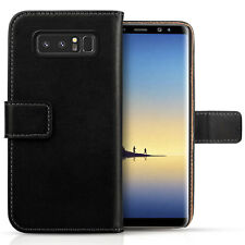 Real Samsung Galaxy Note 8 Caso de cuero genuino Folio Abatible Billetera Funda Note 8