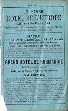 Stampa antica pubblicità TRE ALBERGHI HOTEL a LE HAVRE 1870 Old print