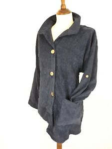 Gracila Navy Blue Ladies Cord Shirt Size L