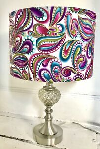 Chrome Pinapple Style Table Lamp:Handmade Psychedelic Lampshade/Sparkle Inner