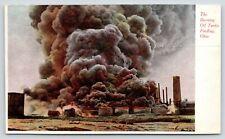 Findlay Ohio~Burning Oil Tanks~Explosion~Smoke Stack~1910 Postcard