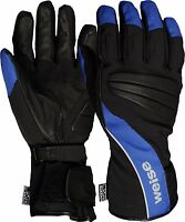 Weise Fusion Black Blue Leather Nylon Waterproof Motorcycle Gloves RRP £34.99!!