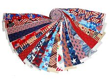 "20 2"" Quilting Fabric Jelly Roll Strips Patriotic MEDLEY  Red White and Blue"