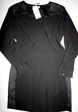 Noa Noa Kleid Dress Heavy Crepe Black Langarm Size: L/40  Neu