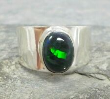 925 Silver BLACK ETHIOPIAN HONEYCOMB OPAL Wide Band Ring Sz S-9 R433