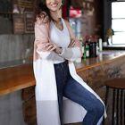 Fashion Women Open Front Colorblock Cardigan Sweater Coat Long Knit Cardigan