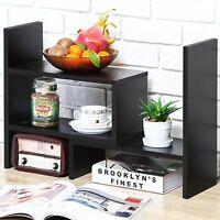 FITUEYES Wood Black  Desktop Book Shelf Office Supplies Desk Organizer