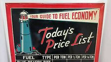 """GAS SIGN ADVERTISING BLUE BEACON FUEL OIL COAL PRICES LIGHT HOUSE 34"""""""