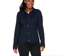Women with Control Knit Denim Style Jacket - Navy - Medium