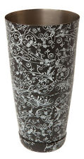28 oz Boston Can Black Floral Design, Tin Shaker, Bar cocktail equipment