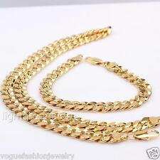 18K Yellow Gold Filled Solid Cuban Cut Curb Chain Mens Necklace Bracelet Set NEW