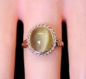 Antique Ladies 10K Yellow Gold Large 4Ct Tiger's Eye Oval Solitaire Ring Size 7