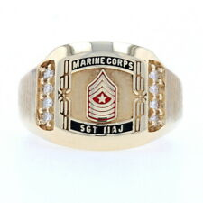 United States Marines Sergeant Major Ring - 10k Gold Military Diamonds .28ctw