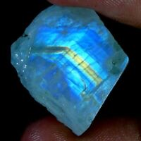 100% Natural  Blue Fire Rainbow Moonstone Rough Slab Cabochon Material Gems DF02