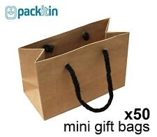 x50 MINI KRAFT BROWN paper gift CARRY party BAGS with handles MINI (100 x 150mm)