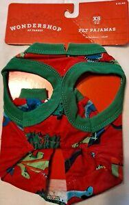 Holiday Dinosaur Print Dog and Cat Matching Family Pajamas Red XS / XL Wonde...
