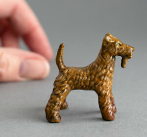 Lovely COLD PAINTED BRONZE Miniature AIREDALE TERRIER Dog FIGURE Sculpture