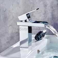 Waterfall Bathroom Basin Faucet Chrome Brass Single Handle Vanity Sink Mixer Tap
