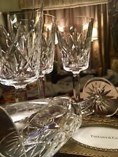 Stunning Never Used Set Of 4 TIFFANY & CO. CUT CRYSTAL SYBIL Wine Goblets 7""