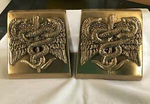 """PM Craftsman Medical CADUCEUS Serpent & Staff 5"""" Brass Bookends -- NWT"""
