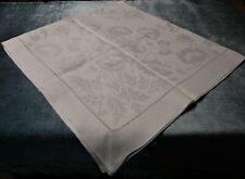 Gorgeous Antique Linen Damask Square Tablecloth Peonies Trailing Vines Hemstitch