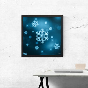 Wall art, Winter crystal snowflakes on blue, Framed picture, Home decoration