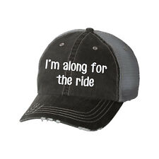I'm Along for the Ride Glitter Ladies Trucker Hat - Girls Trip Weekend