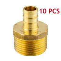 "10 PCS 1/2"" PEX X 3/4"" MALE NPT THREADED ADAPTER BRASS CRIMP FITTING LEAD FREE"