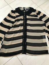 Ladies Boohoo Blouse Black And Beige Stripe With Lace Frill Size 12