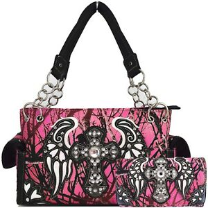 Camouflage Cross Western Purses Country Handbags Women Shoulder Bags Wallet Set