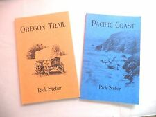 SET OF 2 OREGON TRAIL PACIFIC COAST BY STEBER BOTH SIGNED WAGONS WEST PEGLEG