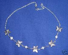 FRESHWATER PEARL & TIBETAN SILVER BUTTERFLY NECKLACE