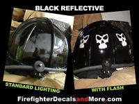 <<REFLECTIVE>> Black Helmet Skull for all Helmet Types Firefighter Rescue & More