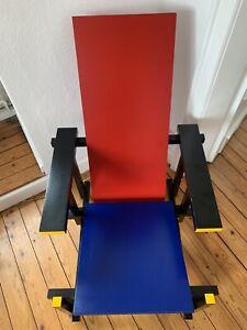 Rot-blauer Designer Stuhl Von Gerrit Thomas Rietveld kein Cassina