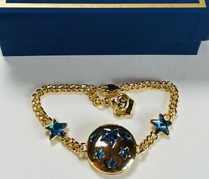 SIGNED B&W (Butler & Wilson) BLUE CRYSTAL MOON/STARS GOLD PLATED BRACELET(boxed)