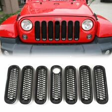 7PC Front Grille Mesh Inserts Grille Guard & Key Hole For 2007+ Jeep JK Wrangler