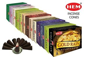💖 HEM Genuine Incense CONES Dhoop Insence Joss Mixed Scents 2 Pack (20 Cones)