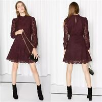 & Other Stories Dress Womens Size 10 Burgundy Floral Lace Long Sleeve Mock Neck