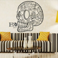 Retro Wall Decals Flower Skull Head Blooming Decal Home Bedroom Decor Sticker