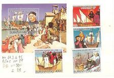 BURKINA FASO N° 693-95 + BLOC 29+ PA 320  CHRISTOPHE COLOMB
