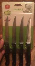 Essentials Steak Knife Set, Stainless Steel & Black, 4-Pc.