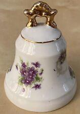 Vintage 1971 Lefton China Porcelain Gold Accent Bell Purple Flowers Beautiful