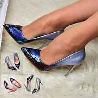 Womens Stiletto High Heel Shoes Pointed Toe Evening Courts Classic Glossy Size