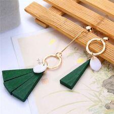 1pc Fashion Asymmetric Drop Earrings Wooden Long Tassel Dangle for Women Green