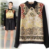 Women Vogue Vintage  Casual Chiffon Long Sleeve Flower Blouse Tops Lapel Shirt