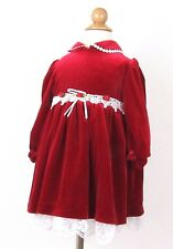 Youngland Long Sleeve Dress 24 Months Baby Toddler Girl Red Christmas Velour